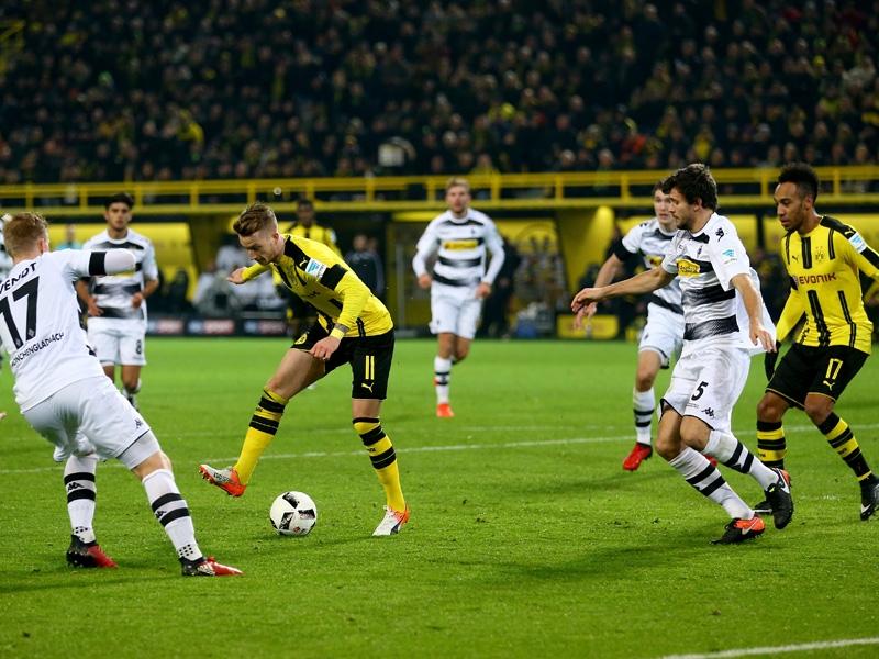 Marco Reus mit dem Assist per Hacke (Quelle:Kicker.de)